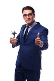 O homem de negócios com a concessão da estrela isolada no branco Fotografia de Stock