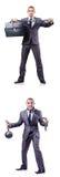 O homem de negócios com os grilhões no branco Foto de Stock