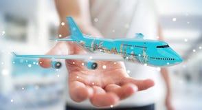 O homem de negócios com os marcos planos e famosos do mundo 3D arranca Imagens de Stock