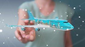 O homem de negócios com os marcos planos e famosos do mundo 3D arranca Fotos de Stock Royalty Free
