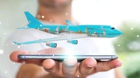 O homem de negócios com os marcos planos e famosos do mundo 3D arranca Fotografia de Stock Royalty Free