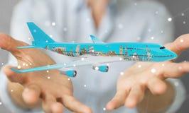 O homem de negócios com os marcos planos e famosos do mundo 3D arranca Imagem de Stock Royalty Free