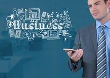 O homem de negócios com telefone e o negócio text com gráficos dos desenhos Fotos de Stock Royalty Free