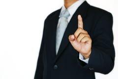 O homem de negócios com terno e a mão da ação assinam planeando o trabalho Conceito do negócio com povos e vida moderna na cidade Imagens de Stock
