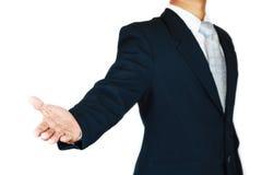 O homem de negócios com terno e a mão da ação assinam planeando o trabalho Conceito do negócio com povos e vida moderna na cidade Fotos de Stock