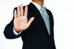 O homem de negócios com terno e a mão da ação assinam planeando o trabalho Conceito do negócio com povos e vida moderna na cidade Imagem de Stock Royalty Free