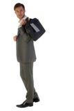 Homem de negócios com um saco em uma mão foto de stock