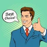 O homem de negócios dá o polegar acima no estilo retro da banda desenhada ilustração stock