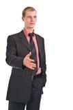 O homem de negócios dá uma mão Imagem de Stock Royalty Free