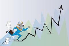O homem de negócios da cabeça de Bull está correndo ao sucesso Fotografia de Stock Royalty Free