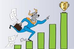 O homem de negócios da cabeça de Bull está correndo para ganhar Foto de Stock Royalty Free