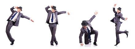 O homem de negócios da dança isolado no branco Fotografia de Stock Royalty Free