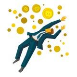 O homem de negócios de salto trava bitcoins de um ouro Fotos de Stock Royalty Free