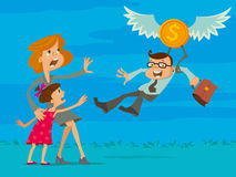 O homem de negócios deixa sua família ilustração royalty free