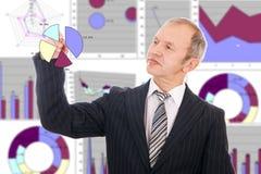 O homem de negócios desenha programações Fotografia de Stock