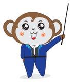 O homem de negócios do macaco está ensinando Foto de Stock