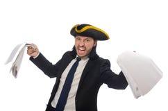 O homem de negócios do pirata que mantém papéis isolados no branco Fotos de Stock Royalty Free
