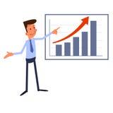 O homem de negócios dos desenhos animados apresenta a carta de crescimento Fotografia de Stock