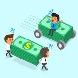 O homem de negócios dos desenhos animados que senta-se na pilha do dinheiro com rodas move-se mais rapidamente do que a equipe do Imagem de Stock