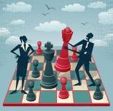 O homem de negócios e a mulher de negócios abstratos jogam um jogo de xadrez ilustração stock
