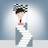 O homem de negócios e o indicador apontam em você na escada superior do sucesso e do fundo da bandeira do revestimento do vencedo ilustração royalty free
