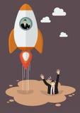 O homem de negócios em um foguete obtém longe da poça da areia movediça Foto de Stock
