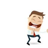 O homem de negócios engraçado dos desenhos animados está rindo Fotografia de Stock
