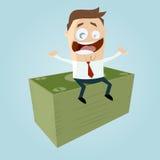 O homem de negócios engraçado está ganhando o dinheiro Fotografia de Stock Royalty Free