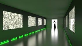 O homem de negócios entra na sala escura com as telas verdes do dólar ilustração do vetor