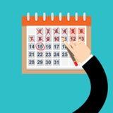 O homem de negócios entrega a marca no calendário, VETOR ilustração do vetor