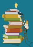 O homem de negócios escala acima a escada para livros do formulário das ideias do achado ilustração stock