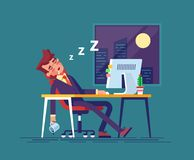 O homem de negócios esgotado caiu adormecido no local de trabalho no escritório na noite Trabalho fora do tempo estipulado Ilustr Foto de Stock