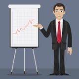 O homem de negócios especifica no flipchart Imagens de Stock