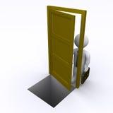 O homem de negócios está abrindo uma porta com risco Fotografia de Stock Royalty Free