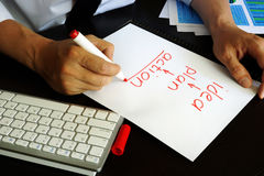 """O homem de negócios está escrevendo plano do †da ideia """"- ação Imagem de Stock Royalty Free"""
