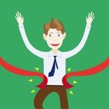 O homem de negócios está feliz e sorrir esse eu ganhei e vim primeiramente ao th Imagem de Stock Royalty Free