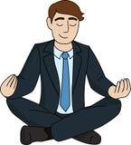 O homem de negócios está meditando Imagens de Stock