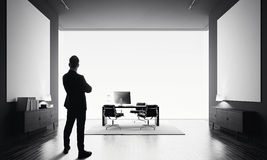 O homem de negócios está no escritório moderno com lona dois vazia Rebecca 36 Fotos de Stock Royalty Free