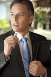 O homem de negócios faz a anotação audio Fotos de Stock Royalty Free