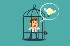 O homem de negócios fechado na gaiola pensou do bulbo da ideia do voo Foto de Stock