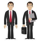 O homem de negócios guarda a mala de viagem e o dobrador Fotografia de Stock