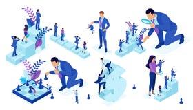 O homem de negócios isométrico Play Chess, cria a estratégia ilustração stock