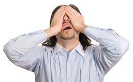 O homem de negócios leva a seu desespero isolado Fotografia de Stock Royalty Free
