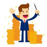 O homem de negócios Make Gold Coins aparece com varinha mágica Fotografia de Stock Royalty Free