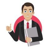 O homem de negócios mostra o polegar acima no círculo Fotos de Stock