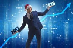 O homem de negócios no chapéu de Santa que guarda 2017 e 2018 Imagens de Stock Royalty Free