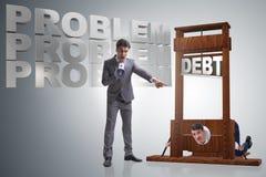 O homem de negócios no conceito do negócio do débito pesado foto de stock