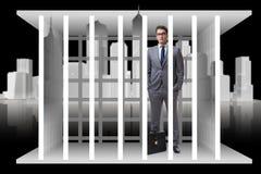 O homem de negócios no conceito do negócio da gaiola Imagens de Stock Royalty Free