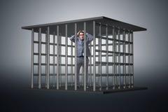 O homem de negócios no conceito do negócio da gaiola Foto de Stock Royalty Free