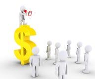 O homem de negócios no símbolo do dólar está chamando a outro Fotografia de Stock Royalty Free